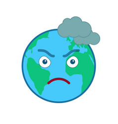 Frowning world globe isolated emoticon vector