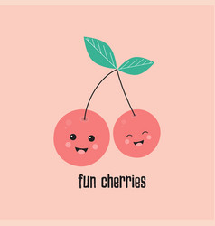 funny cherries on pink vector image