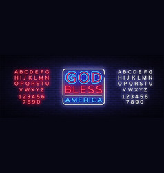 god bless america neon sign usa symbol vector image