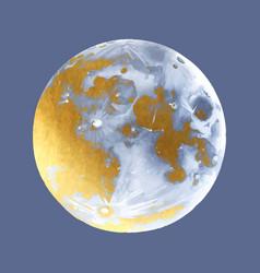 golden moon in retro style vector image