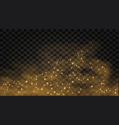 golden smoke with glow effect abstract gold fog vector image