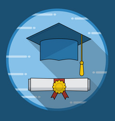 Graduation cap and diploma rolled scroll icon vector