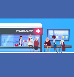 group of people standing in line to pharmacy store vector image