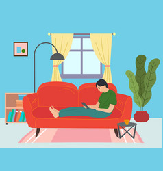 guy on red couch surfing internet via vector image