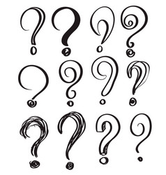 hand drawn doodle questions marks set vector image