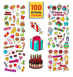 Happy birthday stickers collection childish party vector