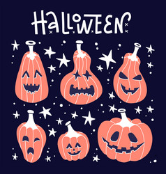 happy halloween white handwritten lettering vector image
