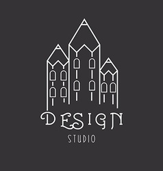 House of pencils idea logo of art studio vector image
