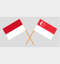 Indonesian and singaporean flags vector
