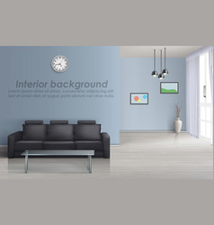 Interior mockup of living room with sofa vector