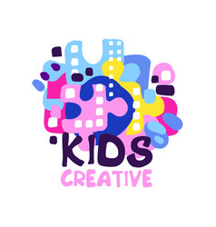 Kids creative logo badges for kids club center vector
