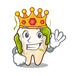 King cartoon decayed tooth with dental caries vector