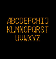 led font with gold glowing light effect luminous vector image