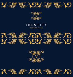 Letter v luxury card logo design vector