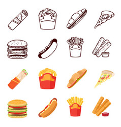 line and flat fastfood icons set vector image