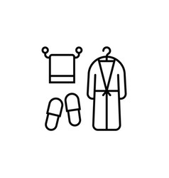 Line icon of bath accessories towel bathrobe and vector