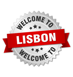 Lisbon 3d silver badge with red ribbon vector