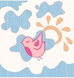 little sweet flying bird vector image