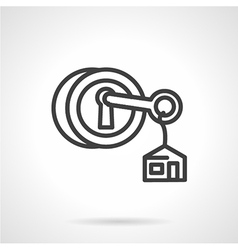 Lock with key black line icon vector image