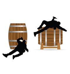 Man drunk on barrel vector