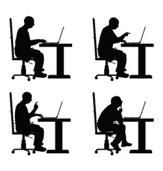 man silhouette with laptop in office set vector image vector image