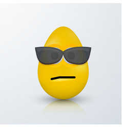 Modern easter emoji egg with shadow vector