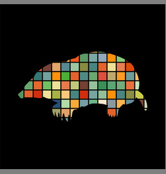 mole insectivores mammal color silhouette animal vector image