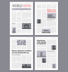 newspaper wireframes front pages brochures vector image