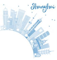 Outline shanghai china city skyline with blue vector