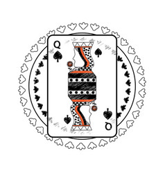 queen spades suit circle emblem french playing vector image