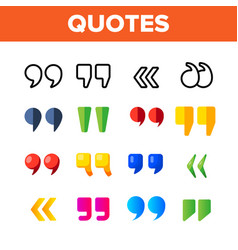 Quotation marks inverted commas color vector