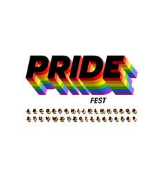 Rainbow flag colors font vector