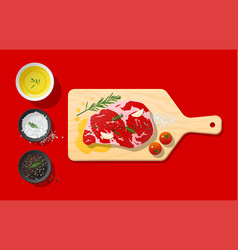 Raw beef steak and seasoning on cutting board vector
