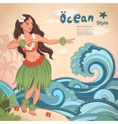 Retro style Hawaiian beautiful hula girl vector image
