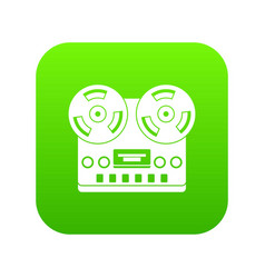 retro tape recorder icon digital green vector image