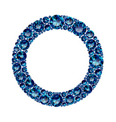 round frame made of realistic blue amethysts with vector image