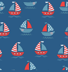 seamless pattern with cartoon boats on blue vector image