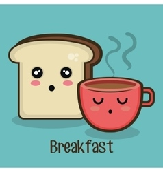 set cartoon breakfast design vector image