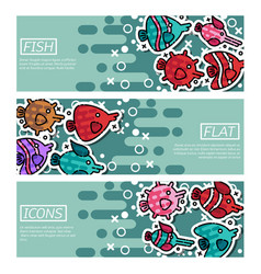 Set of horizontal banners about fish vector