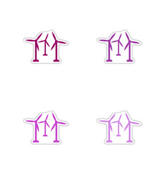 Set of paper stickers on white background wind vector
