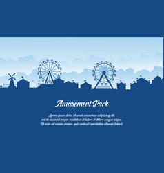 Silhouette amusement park scenery flat vector