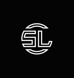 sl logo monogram with negative space circle vector image