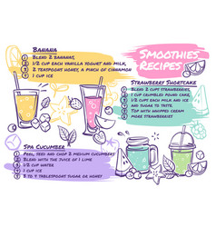 Smoothie recipes fruit cocktails with vector