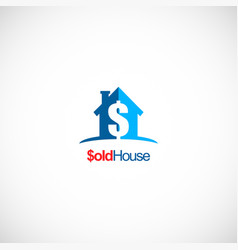 sold house realty business logo vector image
