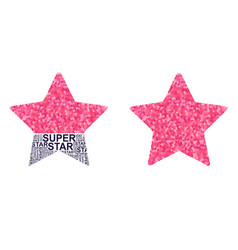 Star with pink glitter hearts and slogan super vector