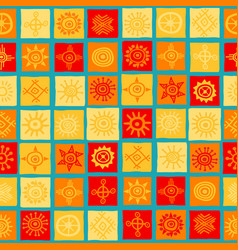 sun symbols on squares seamless background vector image
