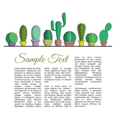 The set of cacti in pots and text vector image
