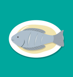 Top view steamed fish on white plate vector