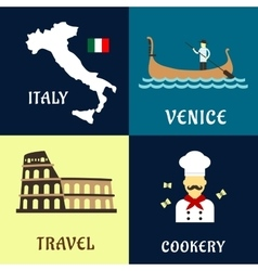 Traditional travel italian flat icons vector image
