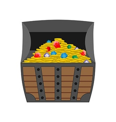 Treasure chest Gold and precious stones in open vector